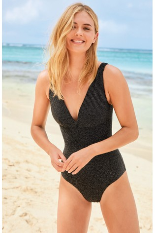 Black Metallic Ribbed Plunge Shape Enhancing Swimsuit
