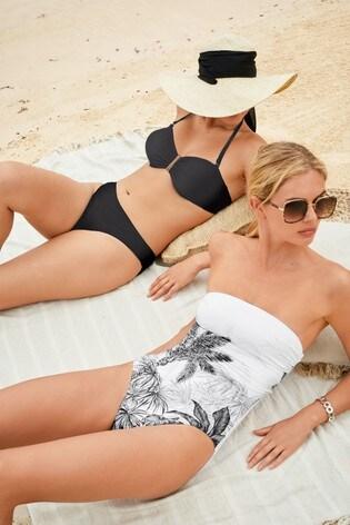 Black Textured Bandeau Bikini Trim Top