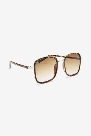 Tortoiseshell Effect Large Square Metal Inlay Sunglasses