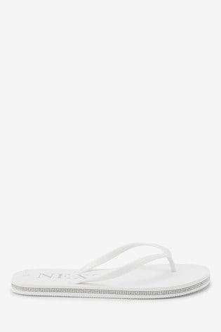 White Diamanté Detailed Flip Flops