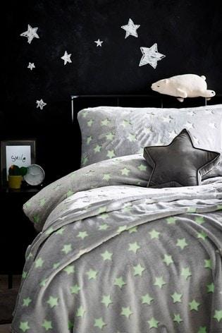 Glow In The Dark Fleece Stars Duvet Cover and Pillowcase Set
