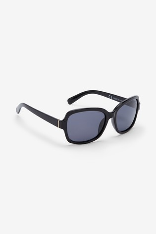 Black Small Square Polarised Sunglasses