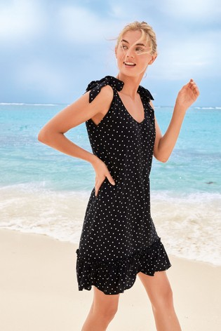 Black Spot Tie Shoulder Dress