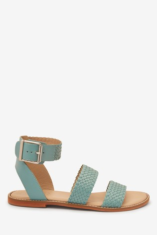 Blue Three Part Weave Sandals