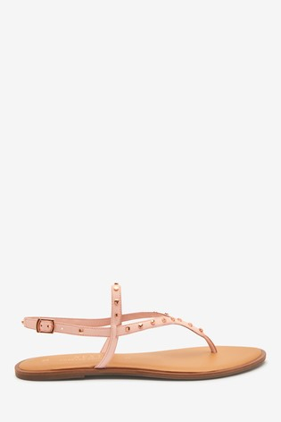 Pink Regular/Wide Fit Forever Comfort® Studded Toe Thong Sandals