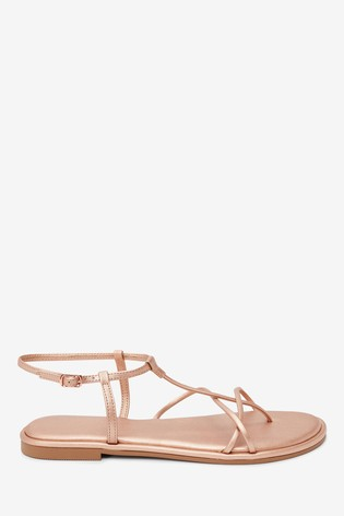 Rose Gold Forever Comfort® Strappy Sandals