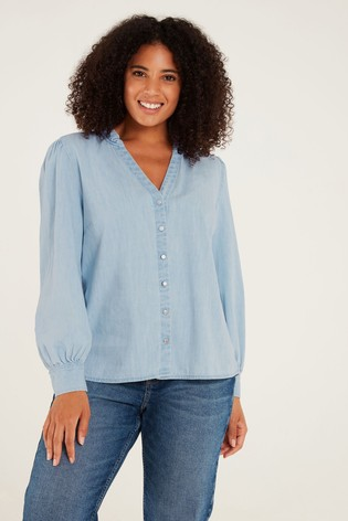 F&F Denim Puff Sleeve Shirt
