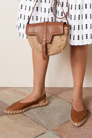 Tan Espadrille Slingback Shoes