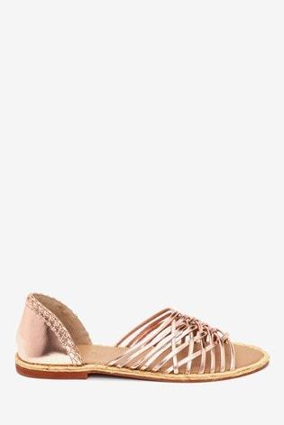 Rose Gold Leather Multi Strap Peep Toe Shoes