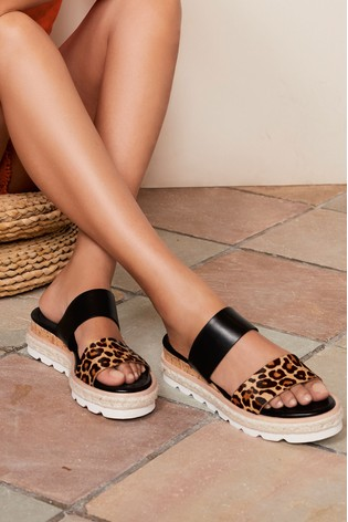 Leopard Print/Black Two Band Mule Wedges