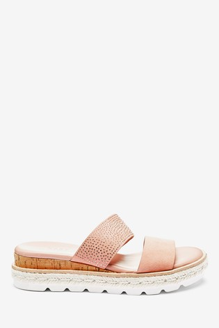 Nude Two Band Mule Wedges