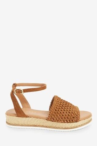 Tan Suede Forever Comfort® Weave Flatform Sandals