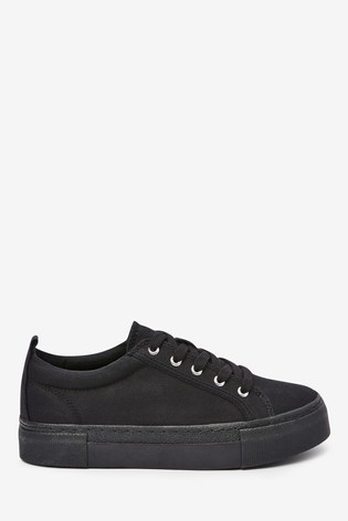 Black Chunky Lace-Up Trainers