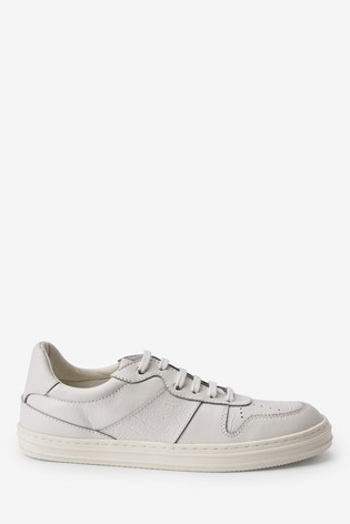 White Signature Retro Leather Lace-Up Trainers