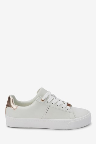 White With Rose Gold Signature Chunky Leather Lace-Up Trainers
