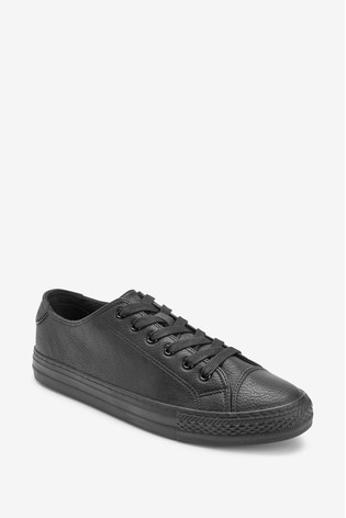 Black Baseball Lace-Up Trainers