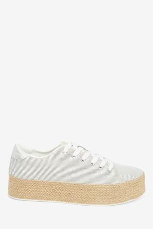 Grey Stripe Flatform Lace-Up Espadrille Shoes