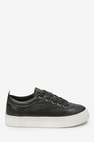 Black Textured Chunky Lace-Up Trainers