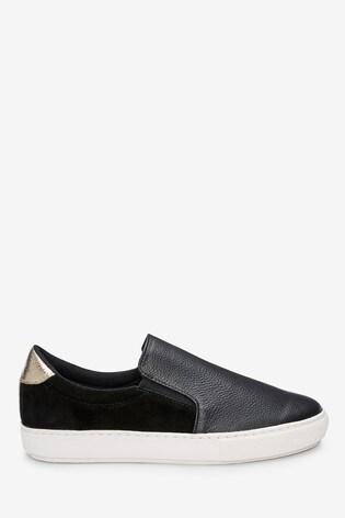 Black Signature Leather Skater Shoes