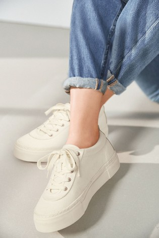 White Canvas Chunky Lace-Up Trainers
