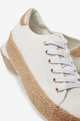 White Flatform Lace-Up Espadrille Shoes