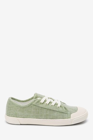 Mint Green Retro Low Canvas Trainers