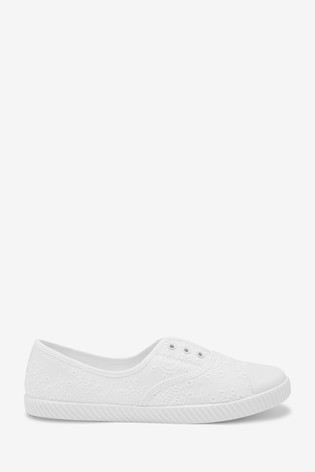 White Laceless Canvas Shoes