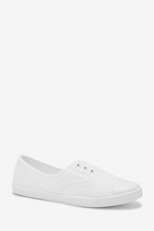 Buy White Laceless Canvas Shoes from