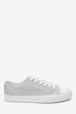 Stripe Baseball Canvas Lace-Up Trainers