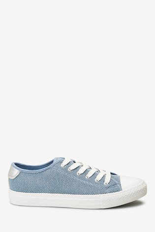 Blue Fly Knit Baseball Lace-Up Trainers