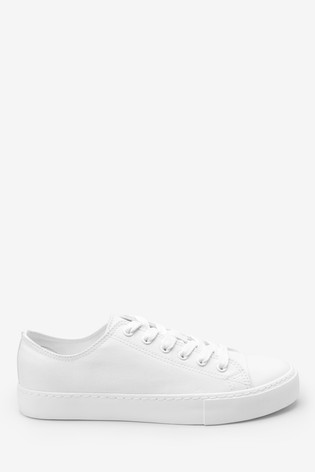 White Baseball Canvas Lace-Up Trainers