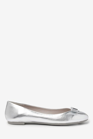 Silver Hardware Bow Ballerina Shoes