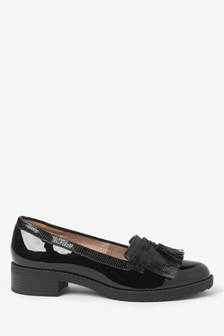 Black Material Mix Cleated Fringe Loafers