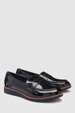 Black Patent Forever Comfort® Brogue Detail Chunky Sole Loafers
