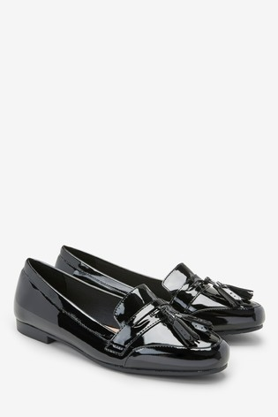 Buy Black Patent Cleated Tassel Loafers