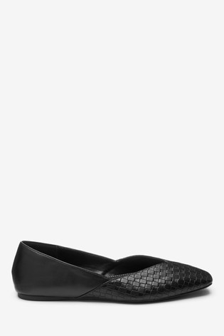 Black V-Cut Ballerina Shoes