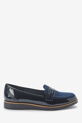 Navy Forever Comfort™ Brogue Detail Chunky Sole Loafers