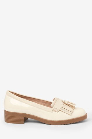 Bone Material Mix Cleated Fringe Loafers