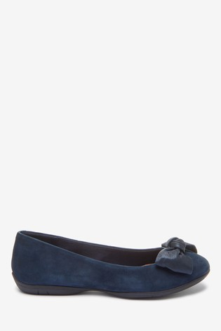 Navy Suede Forever Comfort® Leather Bow Ballerina Shoes