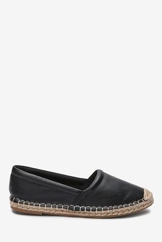 Black Slip-On Espadrille Shoes
