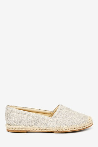 Silver Weave Slip-On Espadrille Shoes