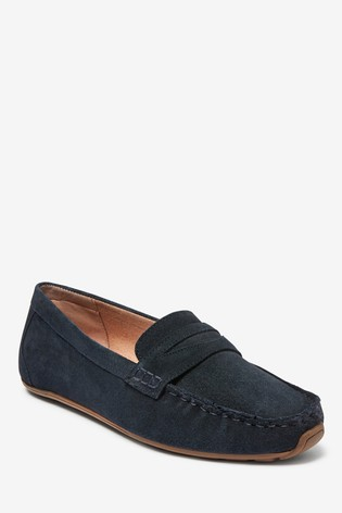 Navy Suede Leather Forever Comfort® Driver Shoes