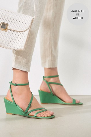 Green Strappy Cork Wedges