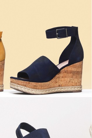 Buy Navy Leather Open Toe Wedge Sandals