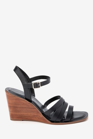 Buy Black Strappy Wood Heel Wedges from