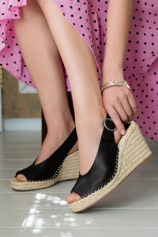Black Espadrille Slingback Wedges