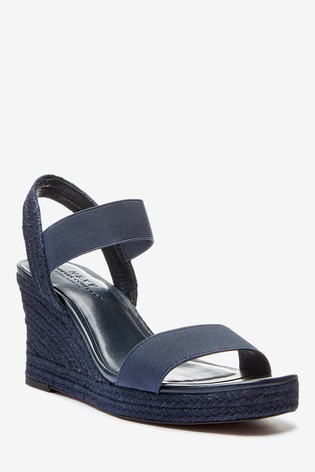 Navy Extra Wide Fit Square Toe Espadrille Wedges