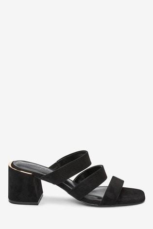Black Strappy Block Heel Mule Sandals