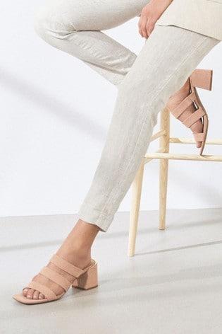 Blush Strappy Block Heel Mule Sandals