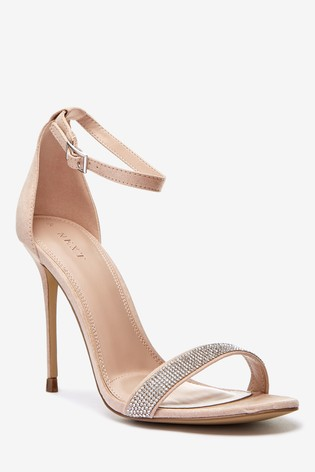 Nude Diamanté Barely There Sandals